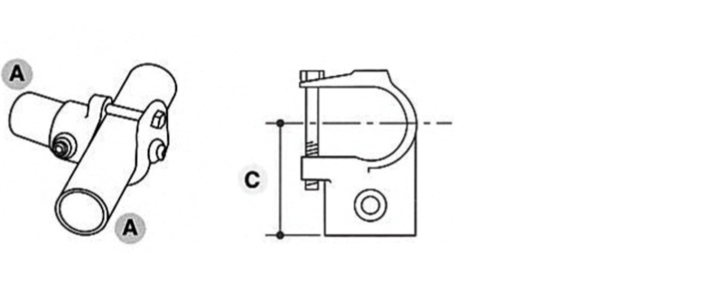 Tube Clamp Retro Fit Clamp on Tee Inline 135