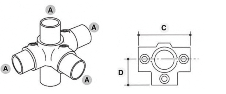 Tube Clamp 3 Way Outlet Tee 176